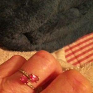 14k white gold pink topaz ring size 71/2